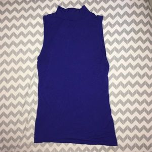 Blue Mock Neck Sleeveless Shirt